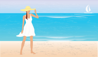 Girl in hat on the sandy seashore - vector art illustration