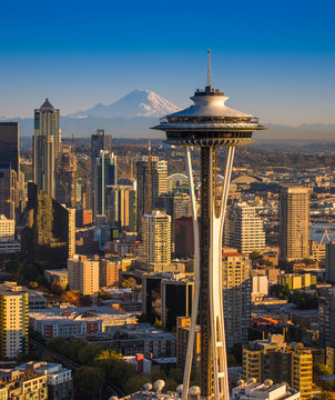 Seattle at Sunset - Space Needle, Mt. Rainier, Downtown Aerial