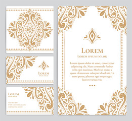 Gold vintage greeting and business card on a white background. Luxury ornament template. Mandala. Great for invitation, flyer, menu, brochure, postcard, background, wallpaper, decoration.