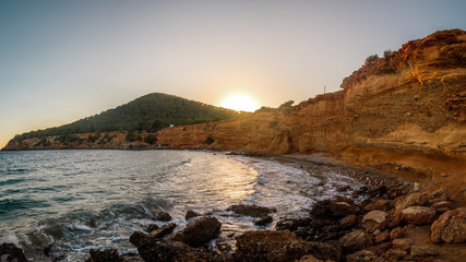 Panorama on cliffs of the Balearic Islands in Ibiza