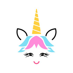 Happy unicorn face vector. Cute unicorn face. Design for child card,t-shirt.Girls,kid.magic concept.Isolated on white background. Horse with gold horn and beauty rainbow hair.
