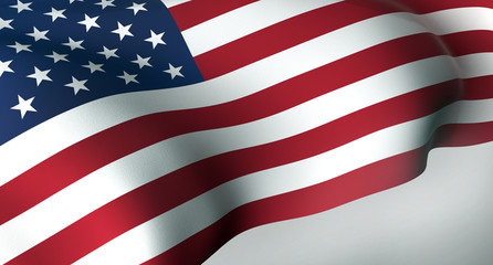 3D illustration American waving flag