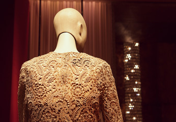 Wooden mannequin back portrait wearing lace sweater