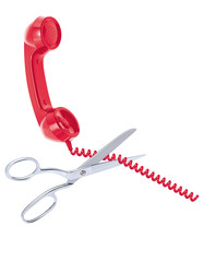 Telephone cord being cut by scissors isolated on white. Realistic vector 3d illustration