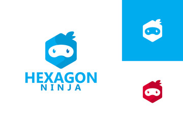 Hexagon Ninja Logo Template Design Vector, Emblem, Design Concept, Creative Symbol, Icon