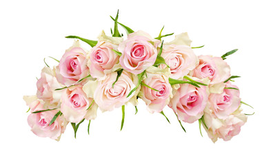 Beautiful white rose flowers in arch arrangement