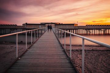 Helsingborg pier at sunset