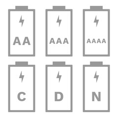 AAA, AAAA, AAAAA, C, D, N battery size. Vector icon.