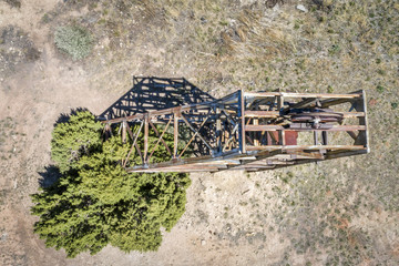 Old mine head structure aerial view