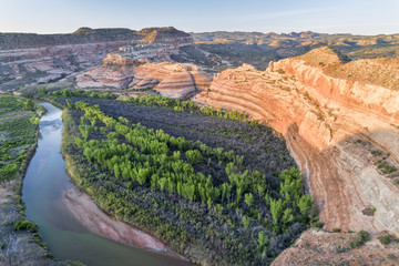 Dolores River sandstone canyon aerial view