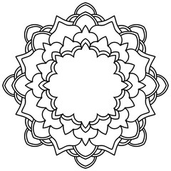 Ornamental round doodle flower isolated on white background. Black outline mandala, frame. Geometric circle element. Vector illustration.