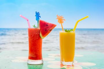 Mango shake and watermelon shake on the tropical beach