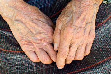 The hands of the old peasant woman
