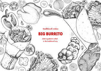 Burrito and ingredients for burrito sketch. Mexican food vector illustration. Food menu engraved elements.