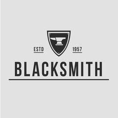 Blacksmith smith union shoer anvil logo set. Smith allince logos. Heavy industry.
