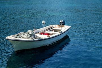 Fishing boat at sea.Boat at beautiful blue water