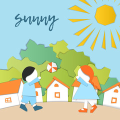 Vector Characters. Weather Forecast in papercut style. Girl and boy outdoors on a sunny day.Children's applique style