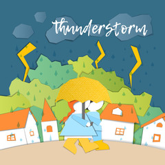 Vector Characters. Weather Forecast in papercut style. Girl and boy outdoors on a stormy day.Children's applique style