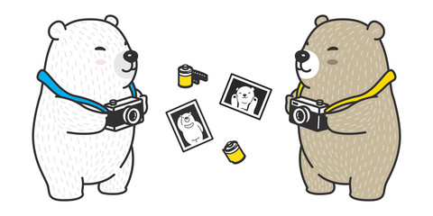 bear vector icon logo polar bear panda character cartoon camera film illustration doodle