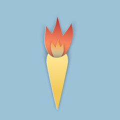 Vector illustration, cone burning torch with orange flame in papercut style with transparent shadows isolated on blue background
