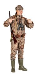 Full length portrait of a male hunter with double barreled shotgun Isolated on white background. hunting and people concept