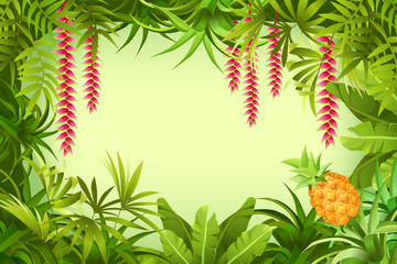 Illustration tropical jungle with space for text. Vector illustration.