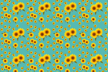 Wall Mural - pattern flower sunflower green background