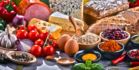 Composition with assorted organic food products on the table