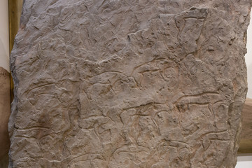 Ancient stone stele with an image of animals belonging to the Okunev culture is aBronze Ageculture dated to the first half of the2nd millennium BCinMinusinsk Hollowof southern Siberia.