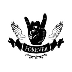 Forever Hand Gesture Horns Vector Illustration