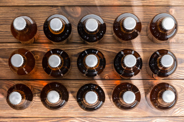 Neatly aligned rows of bottled craft beer