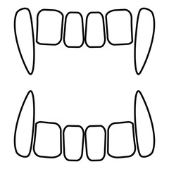 Vampire's teeths icon black color illustration flat style simple image