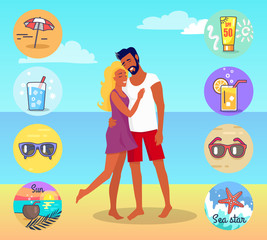 Couple on Beach with Summer Attributes around