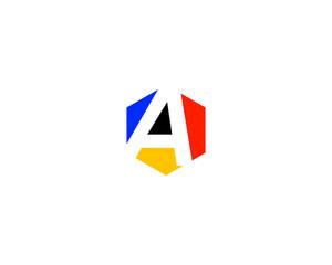 a hexagon white space letter logo