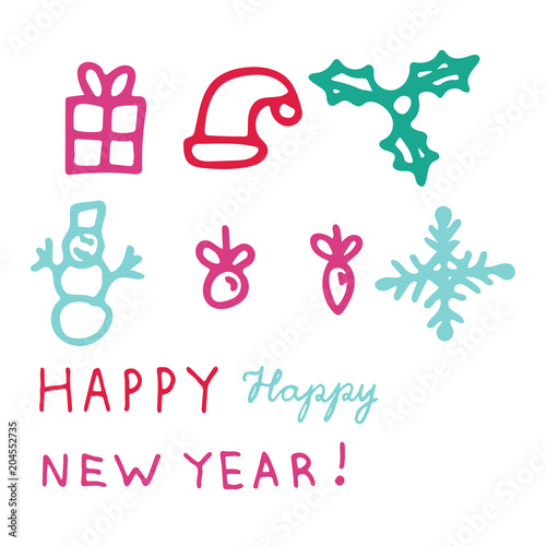 Colorful Happy New Year greeting card with icons of a gift, hat ...