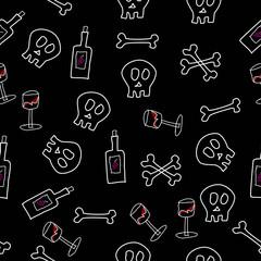 Schädel, Knochen und Weinglas Muster