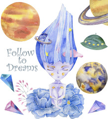 Space Girl watercolor fantasy on milky way Follow to Dreams blue set Rockets UFO Flowers character drawing illustration geometric Hair art for birthday party print celebration card white background