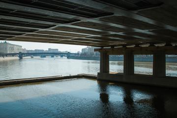 view under the bridge of city