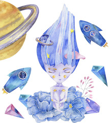 Space Girl watercolor fantasy on milky way solar system magic flying blue set Rockets UFO Flowers character drawing illustration geometric Hair art for birthday print celebration card white background