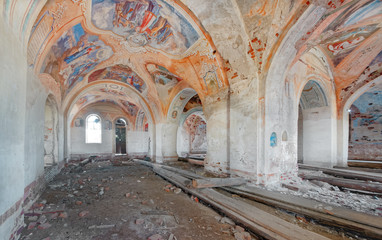 Abandoned brick church built in the late 19th century, inside