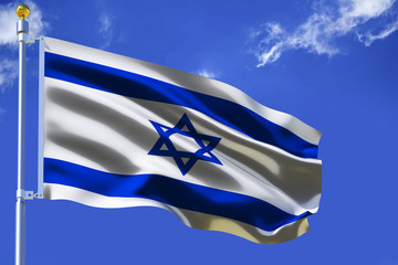 Israel flag  Silk waving flag with emblem David's star of State of Israel with a flagpole on a sunny blue sky background with white clouds  3D illustration.