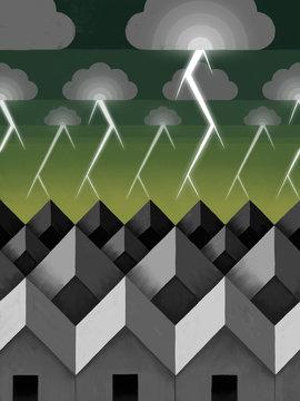 Lightening Houses: Green Skies