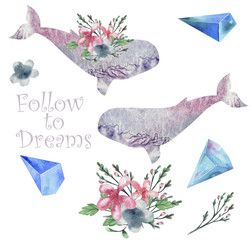 Whale watercolor fatasy whale Flowers and Crytstal Follow to Dream flying blue Bounquet sea deep character drawing illustration geometric clip art birthday party print celebrationon white background