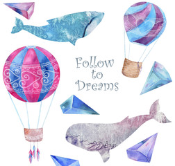 Whale watercolor fantasy whale Balloon and crytstal Follow to Dream flying blue ocean sea deep character drawing illustration geometric clip art for birthday party print celebration white background