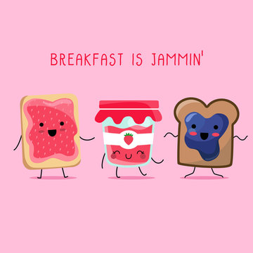 Kawaii illustration of a funny and yummy breakfast set dancing happily. There's a bottle of strawberry jam glass bottle and two toasts: one with strawberry and the other one with blueberry. They all h