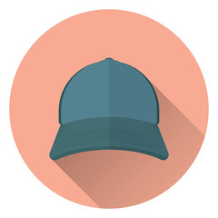 Baseball cap, front view. On round orange background with shadow. Flat style, icon. 10 eps