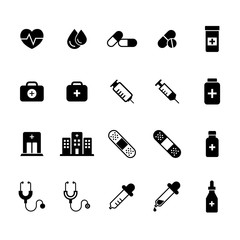 Medical Flat Icons Set. Pharmacy signs and symbols in vector format.