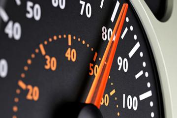 speedometer of a truck at cruising speed of 80 km/h