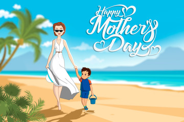 Mother's day illustration of mother & child walking down the beach