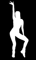 Silhouette of sexy sports dancing woman, isolated on a black background